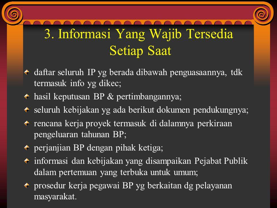 3. Informasi Yang Wajib Tersedia Setiap Saat