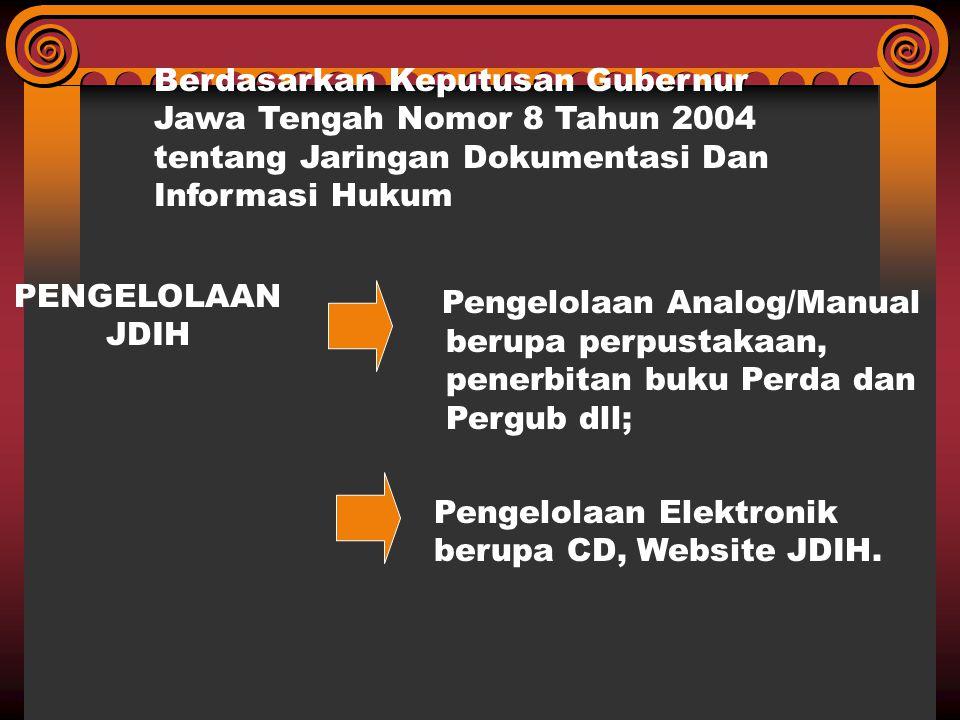 Berdasarkan Keputusan Gubernur Jawa Tengah Nomor 8 Tahun 2004 tentang Jaringan Dokumentasi Dan Informasi Hukum