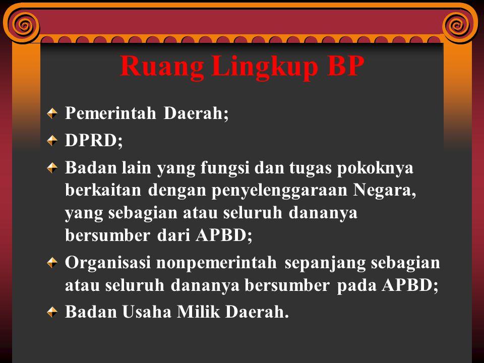 Ruang Lingkup BP Pemerintah Daerah; DPRD;