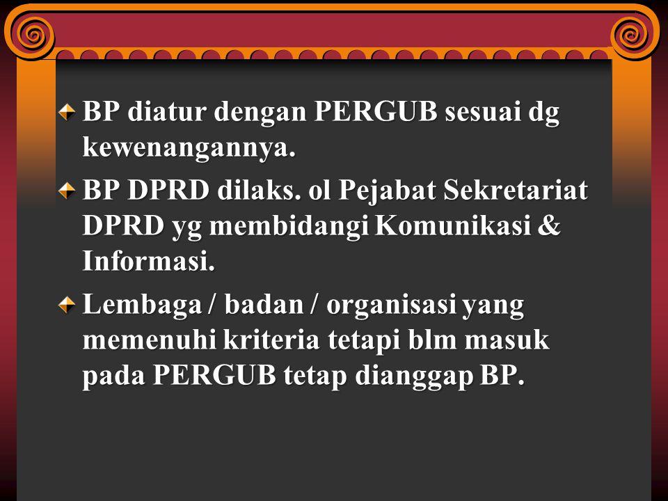 BP diatur dengan PERGUB sesuai dg kewenangannya.