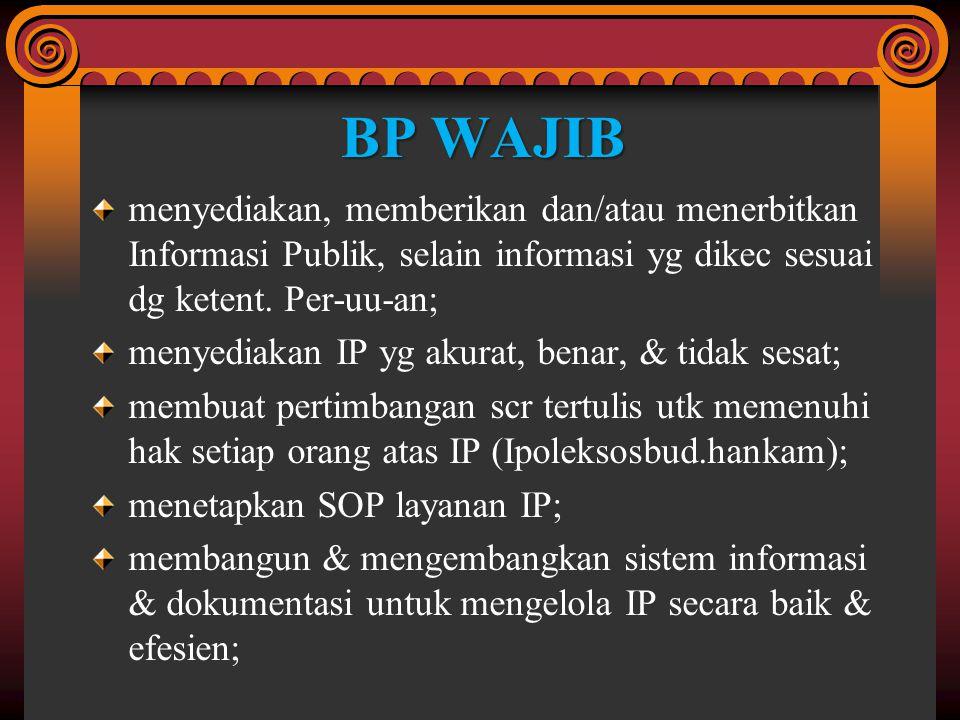 BP WAJIB menyediakan, memberikan dan/atau menerbitkan Informasi Publik, selain informasi yg dikec sesuai dg ketent. Per-uu-an;