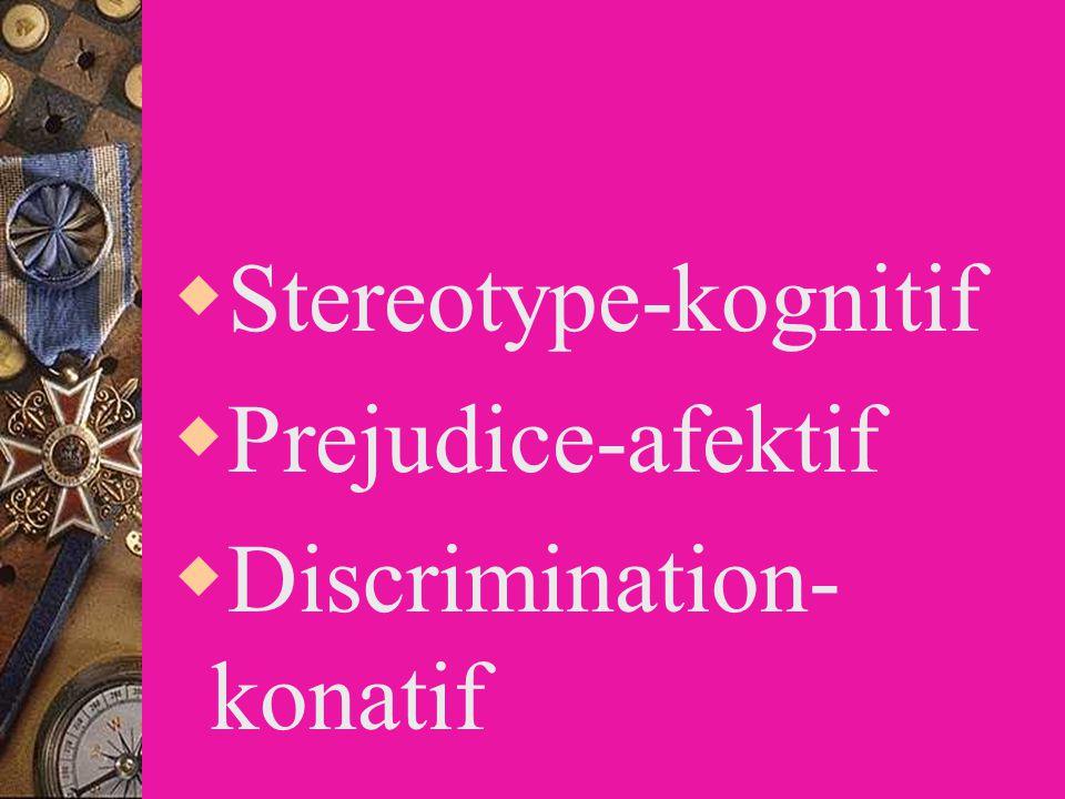 Stereotype-kognitif Prejudice-afektif Discrimination-konatif