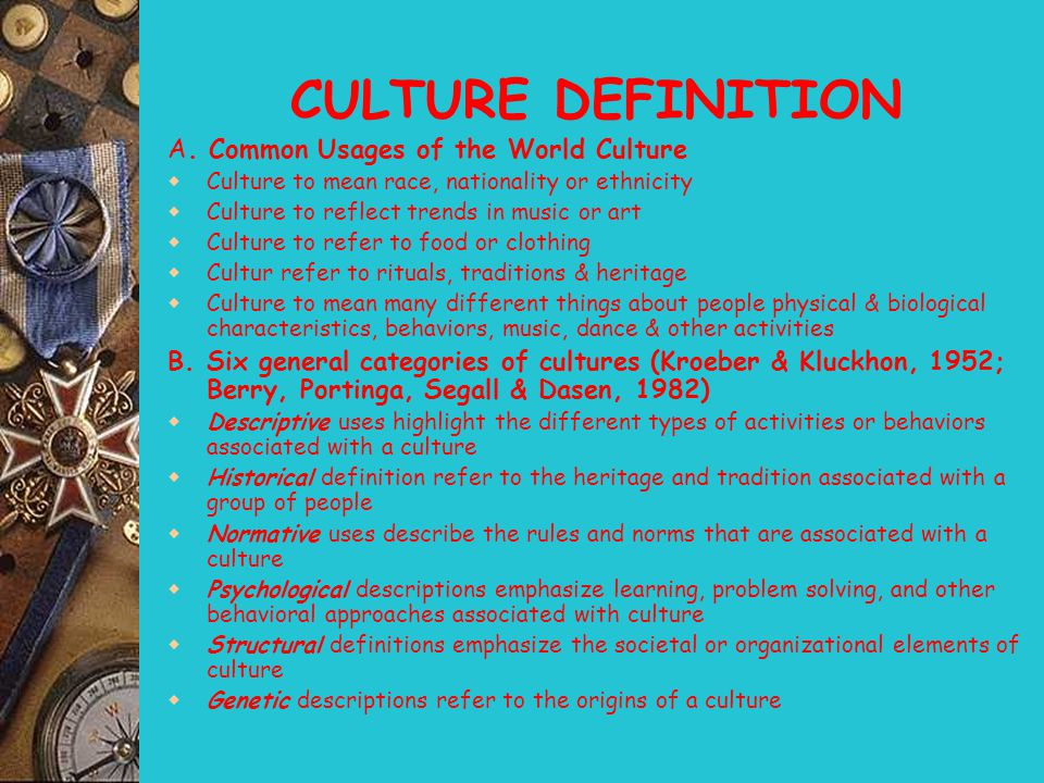 CULTURE DEFINITION A. Common Usages of the World Culture