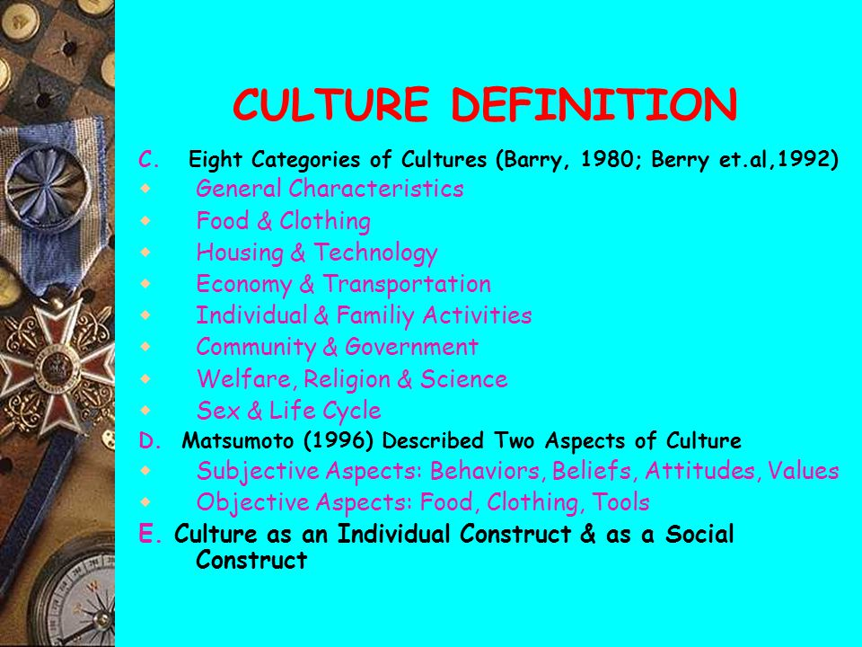 CULTURE DEFINITION General Characteristics Food & Clothing