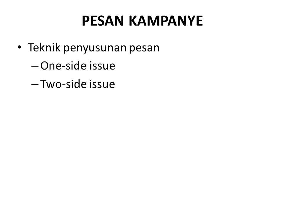 PESAN KAMPANYE Teknik penyusunan pesan One-side issue Two-side issue