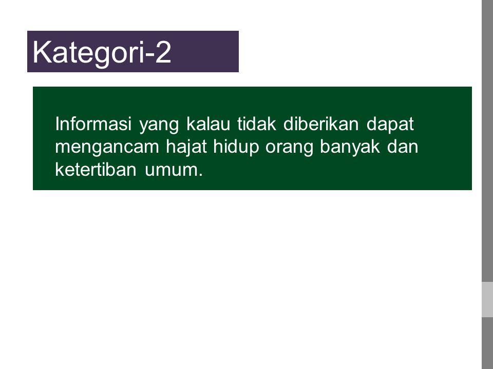 Kategori-2 Informasi yang kalau tidak diberikan dapat mengancam hajat hidup orang banyak dan ketertiban umum.