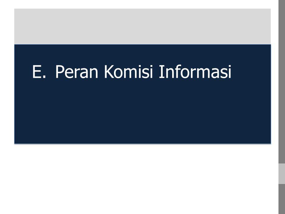 E. Peran Komisi Informasi