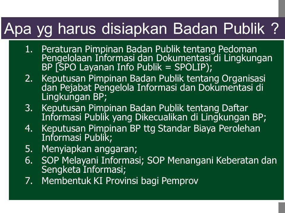 Apa yg harus disiapkan Badan Publik