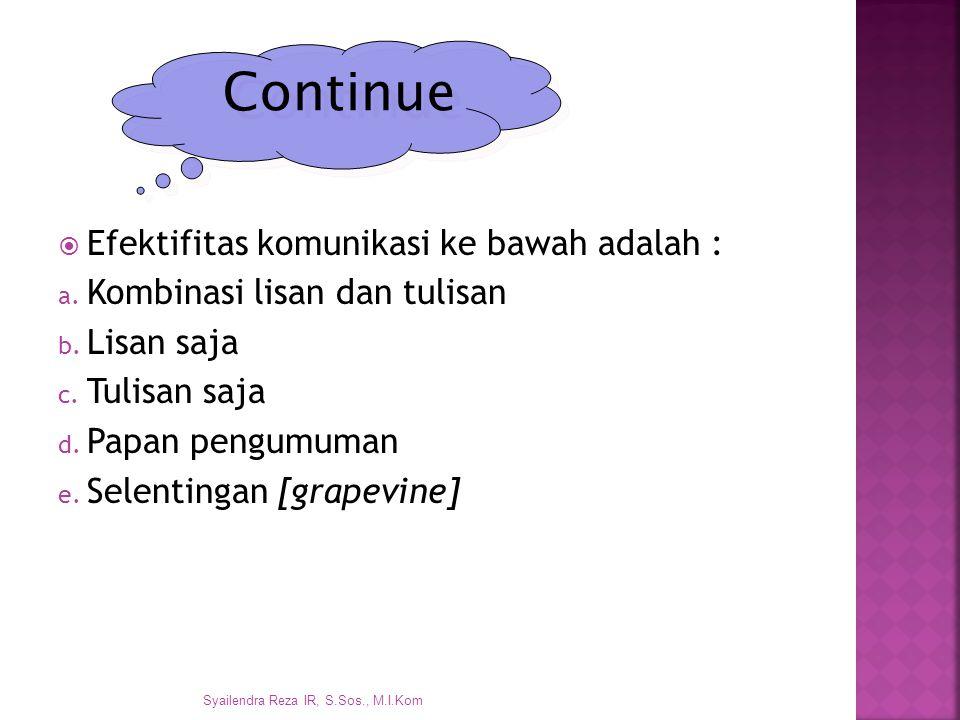 Continue Efektifitas komunikasi ke bawah adalah :