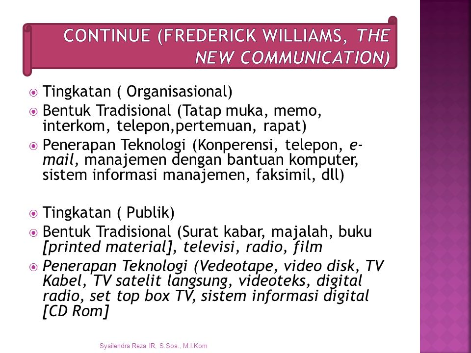 Continue (Frederick Williams, The New Communication)