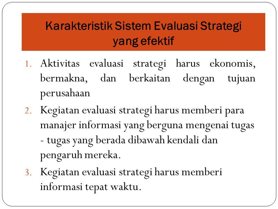 Karakteristik Sistem Evaluasi Strategi yang efektif