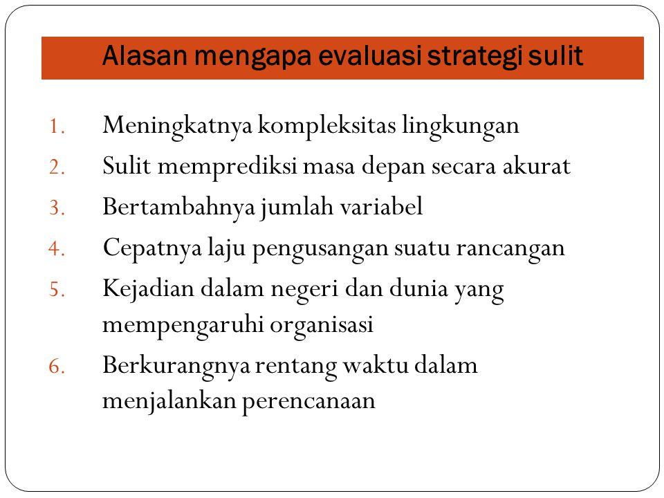 Alasan mengapa evaluasi strategi sulit