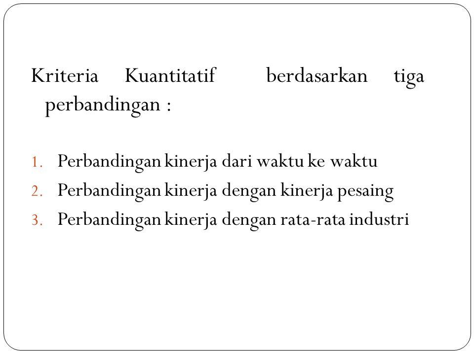 Kriteria Kuantitatif berdasarkan tiga perbandingan :
