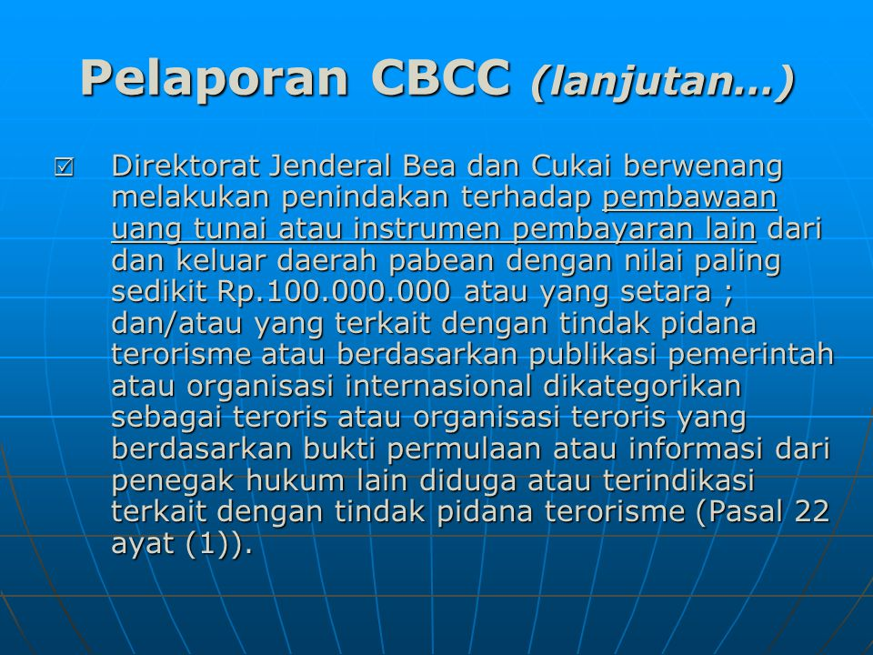 Pelaporan CBCC (lanjutan…)