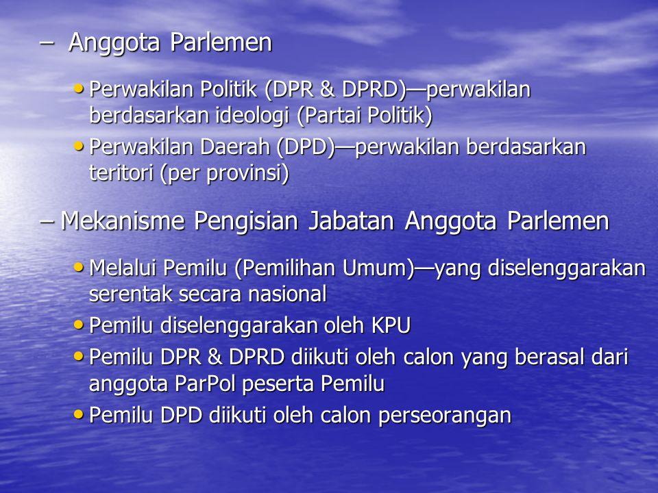 Mekanisme Pengisian Jabatan Anggota Parlemen