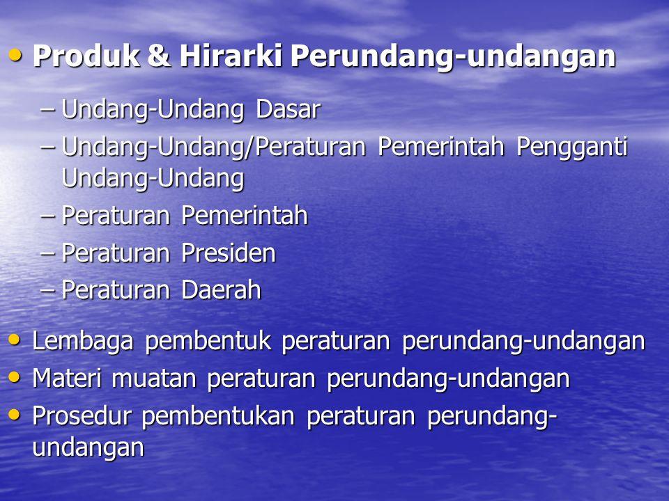 Produk & Hirarki Perundang-undangan