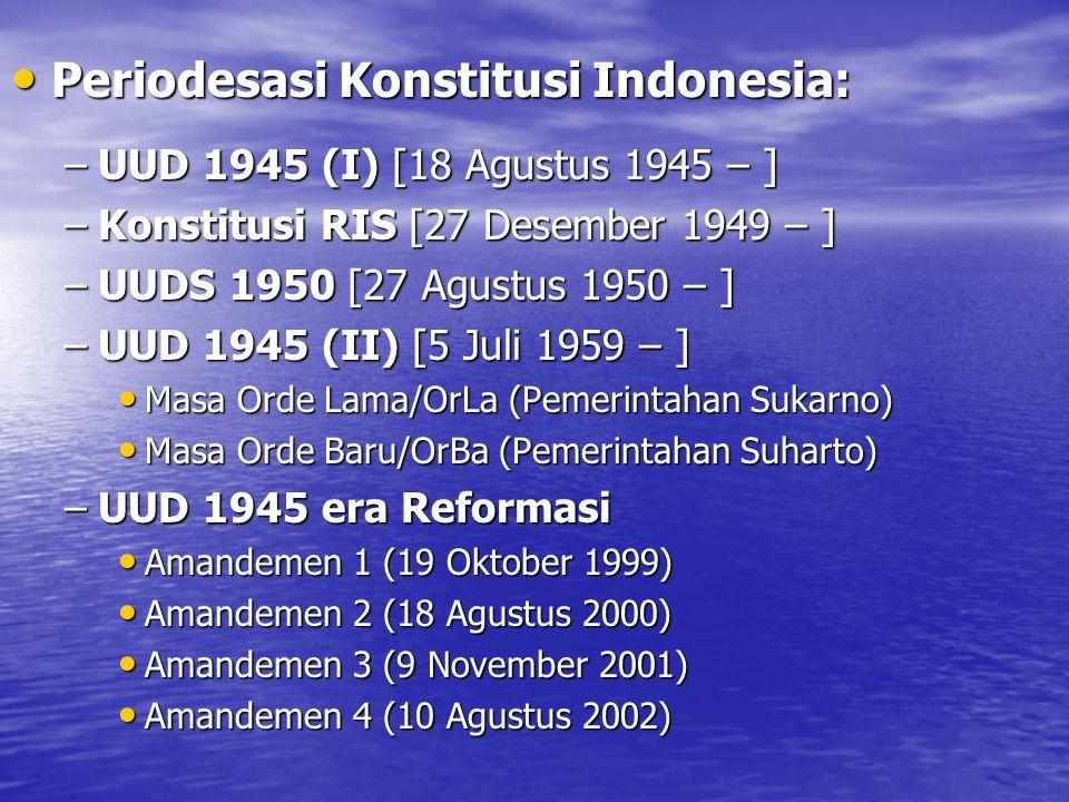 Periodesasi Konstitusi Indonesia: