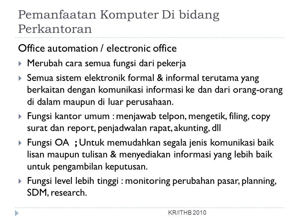 Pemanfaatan Komputer Di bidang Perkantoran