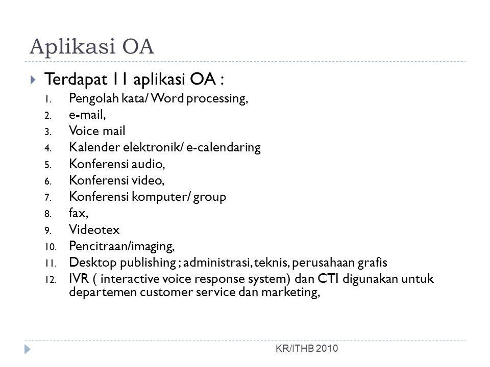 Aplikasi OA Terdapat 11 aplikasi OA : Pengolah kata/ Word processing,