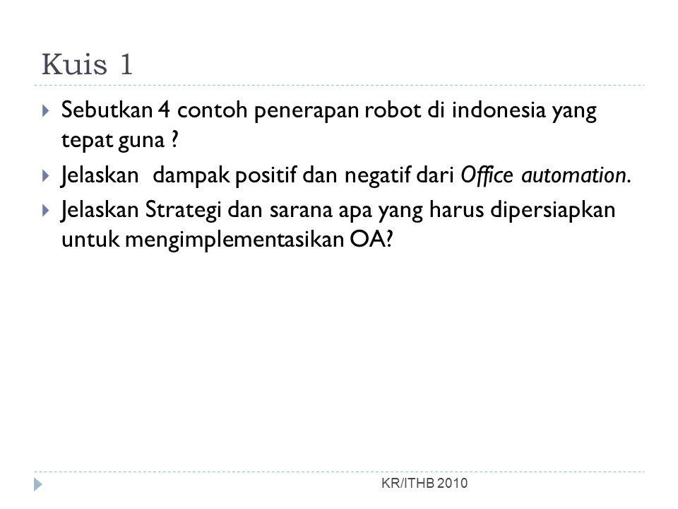 Kuis 1 Sebutkan 4 contoh penerapan robot di indonesia yang tepat guna Jelaskan dampak positif dan negatif dari Office automation.