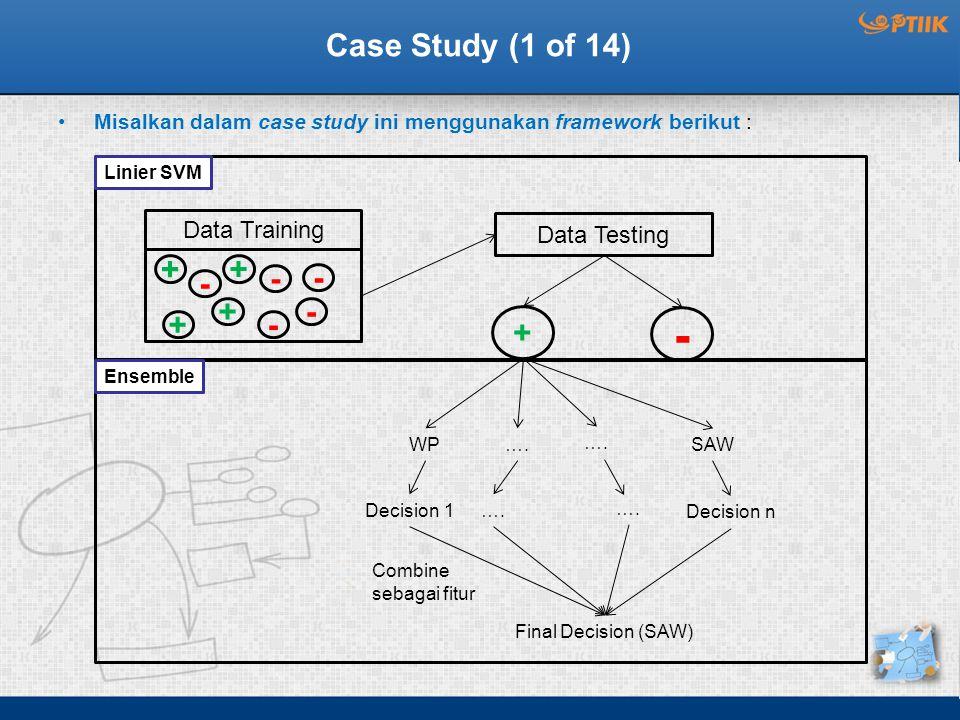- Case Study (1 of 14) + + - - - + - + - + Data Training Data Testing