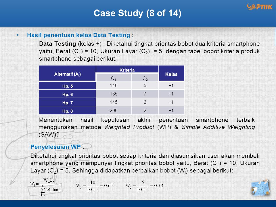 Case Study (8 of 14) Hasil penentuan kelas Data Testing :