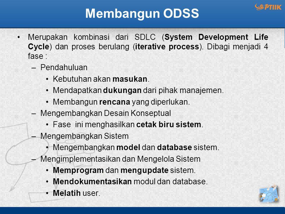 Membangun ODSS Merupakan kombinasi dari SDLC (System Development Life Cycle) dan proses berulang (iterative process). Dibagi menjadi 4 fase :