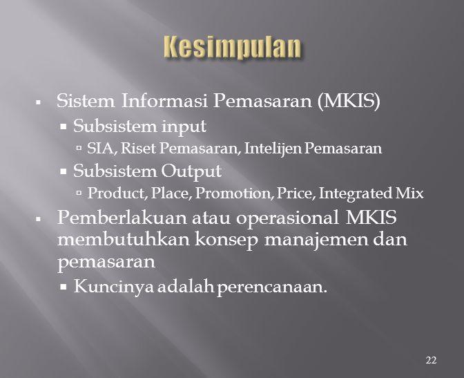 Kesimpulan Sistem Informasi Pemasaran (MKIS)