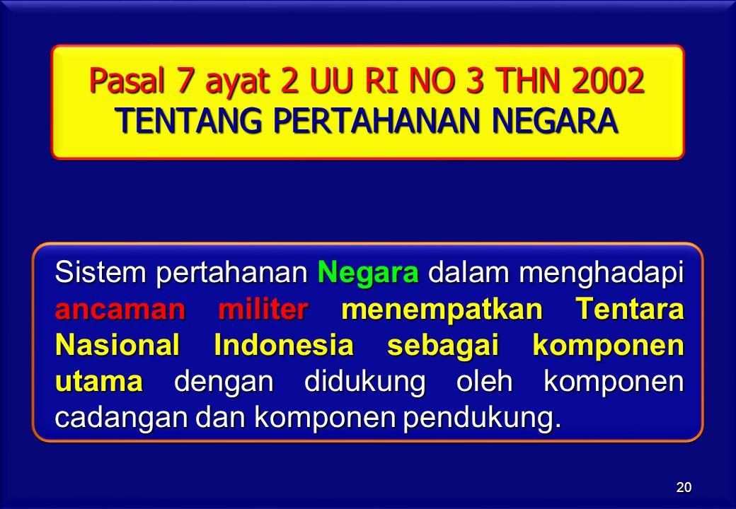 Pasal 7 ayat 2 UU RI NO 3 THN 2002 TENTANG PERTAHANAN NEGARA