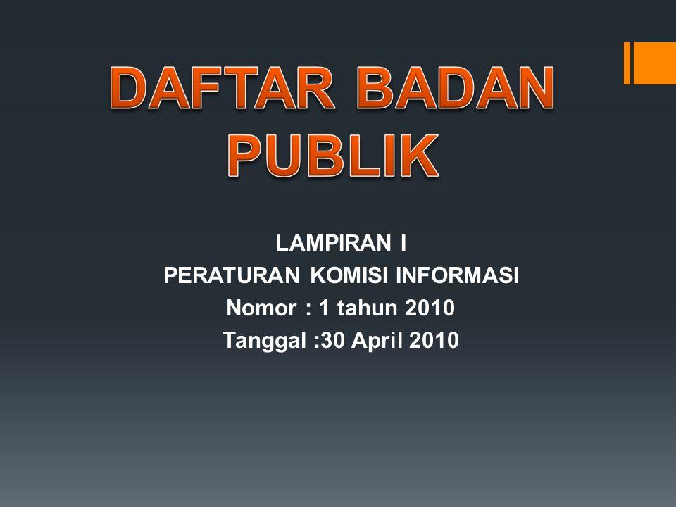 DAFTAR BADAN PUBLIK LAMPIRAN I PERATURAN KOMISI INFORMASI Nomor : 1 tahun 2010 Tanggal :30 April 2010
