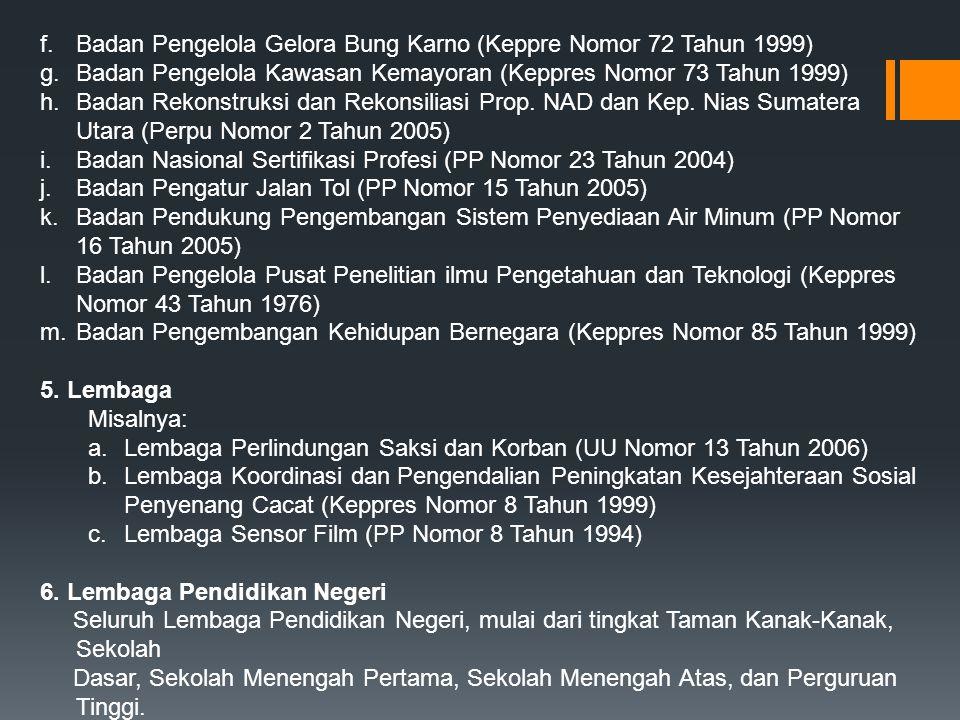 Badan Pengelola Gelora Bung Karno (Keppre Nomor 72 Tahun 1999)
