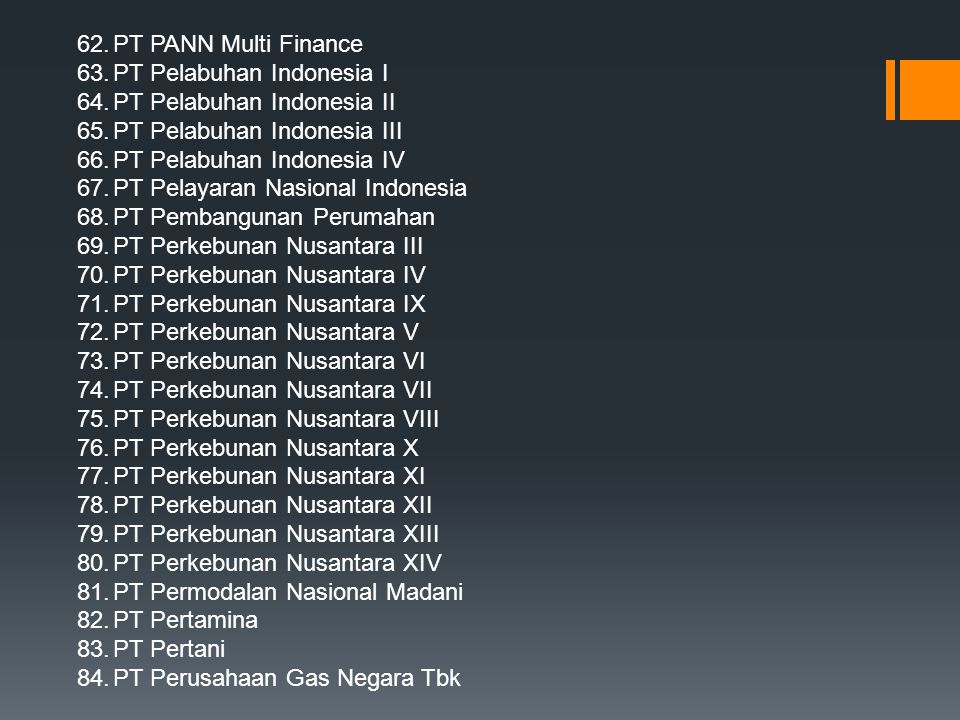 PT PANN Multi Finance PT Pelabuhan Indonesia I. PT Pelabuhan Indonesia II. PT Pelabuhan Indonesia III.