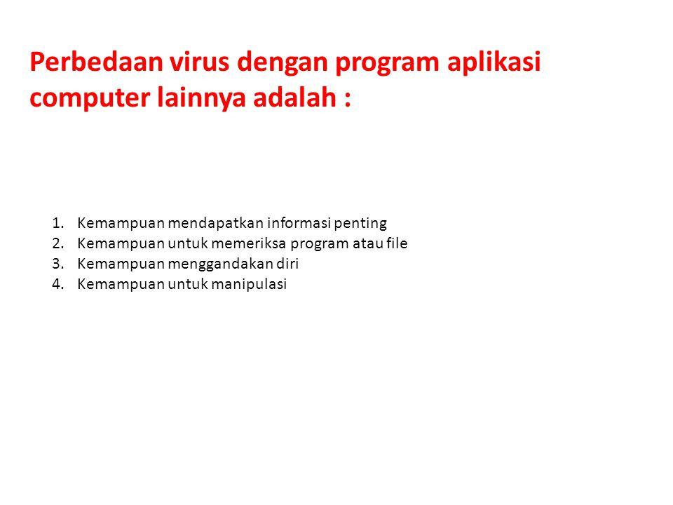 Perbedaan virus dengan program aplikasi computer lainnya adalah :