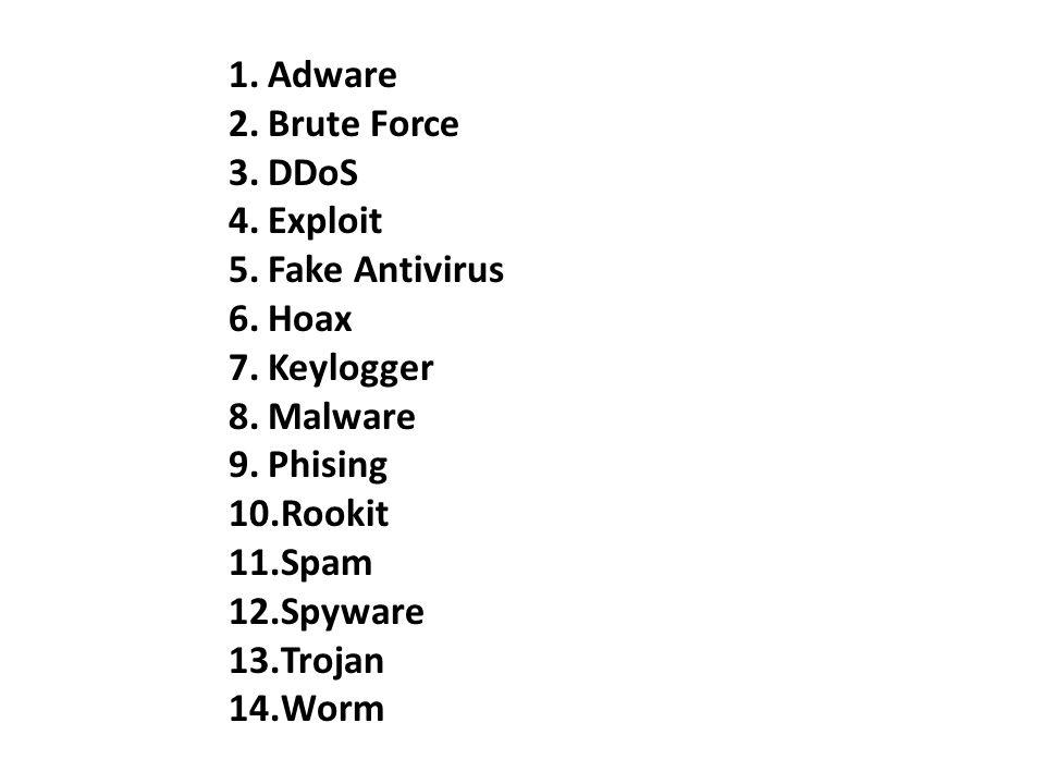 Adware Brute Force. DDoS. Exploit. Fake Antivirus. Hoax. Keylogger. Malware. Phising. Rookit.