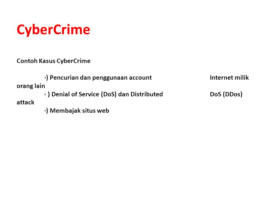 CyberCrime Contoh Kasus CyberCrime