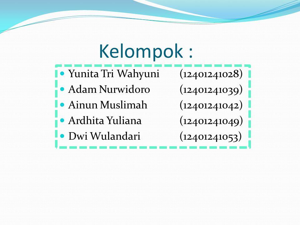 Kelompok : Yunita Tri Wahyuni (12401241028)