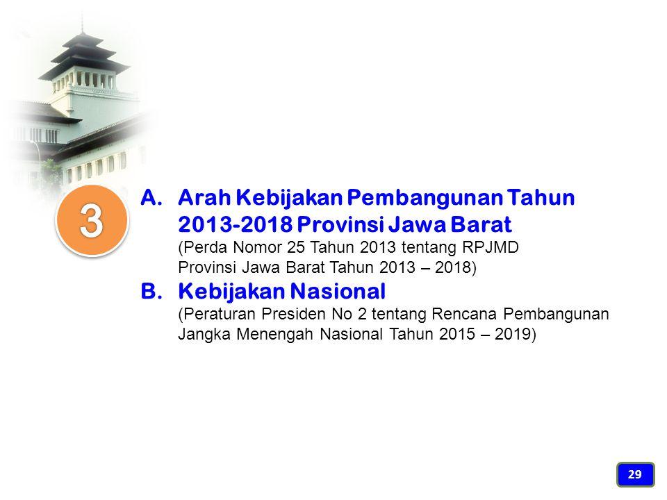 Arah Kebijakan Pembangunan Tahun 2013-2018 Provinsi Jawa Barat (Perda Nomor 25 Tahun 2013 tentang RPJMD Provinsi Jawa Barat Tahun 2013 – 2018)