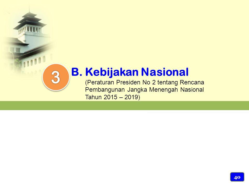 3 Kebijakan Nasional (Peraturan Presiden No 2 tentang Rencana Pembangunan Jangka Menengah Nasional Tahun 2015 – 2019)