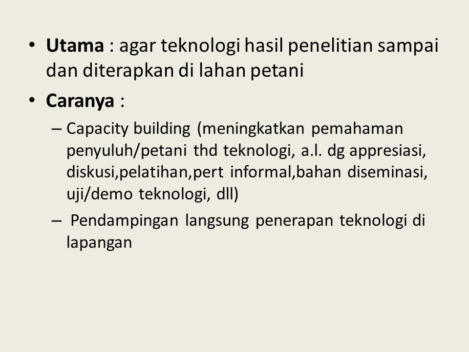 Utama : agar teknologi hasil penelitian sampai dan diterapkan di lahan petani