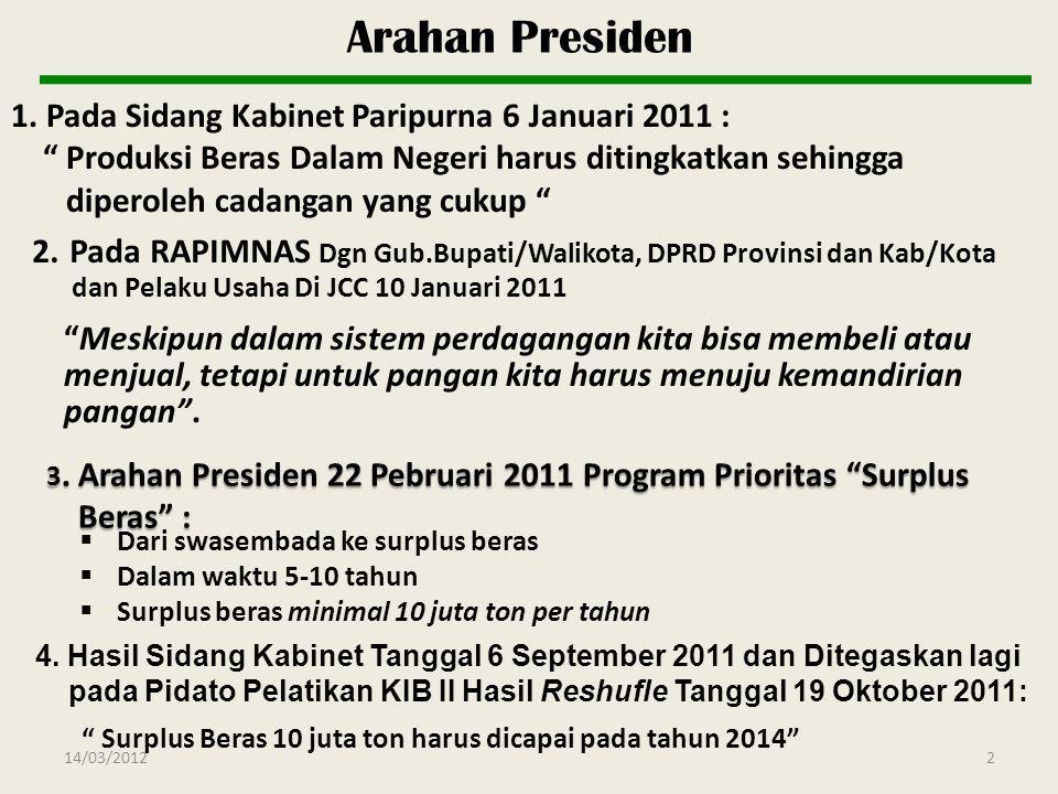 Arahan Presiden 1. Pada Sidang Kabinet Paripurna 6 Januari 2011 :