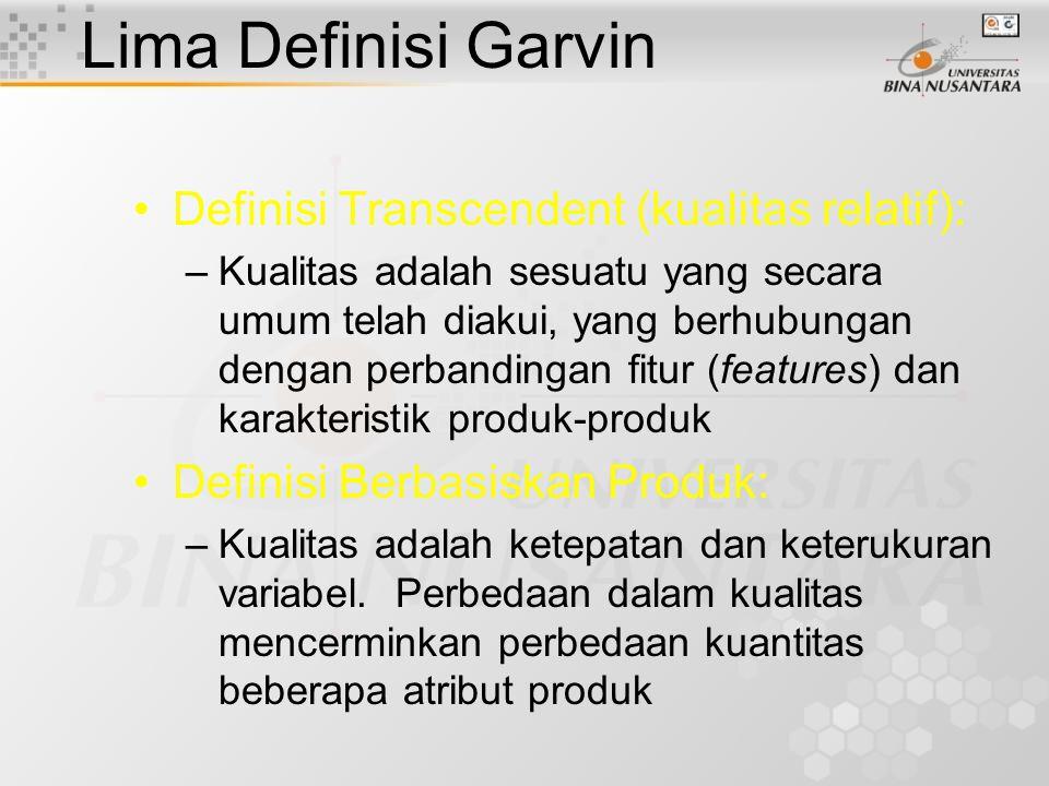 Lima Definisi Garvin Definisi Transcendent (kualitas relatif):