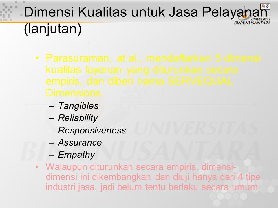 Dimensi Kualitas untuk Jasa Pelayanan (lanjutan)