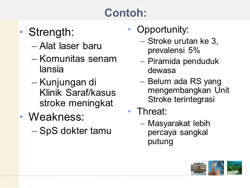 Contoh: Strength: Weakness: Opportunity: Alat laser baru