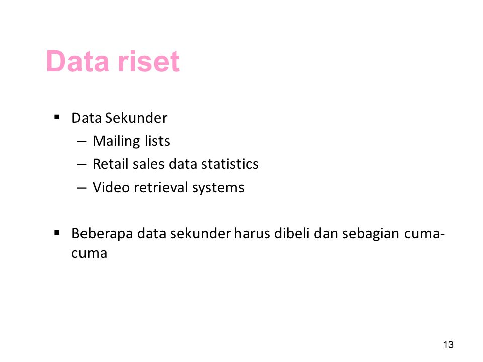 Data riset Data Sekunder Mailing lists Retail sales data statistics