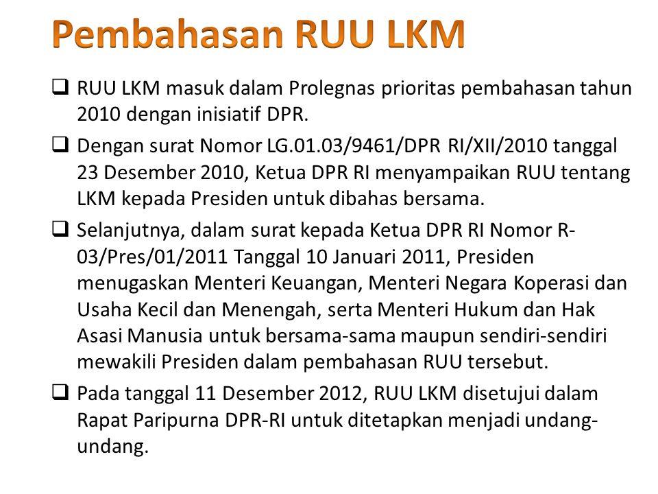 Pembahasan RUU LKM RUU LKM masuk dalam Prolegnas prioritas pembahasan tahun 2010 dengan inisiatif DPR.