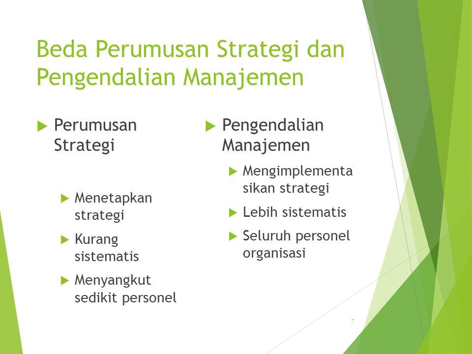 Beda Perumusan Strategi dan Pengendalian Manajemen