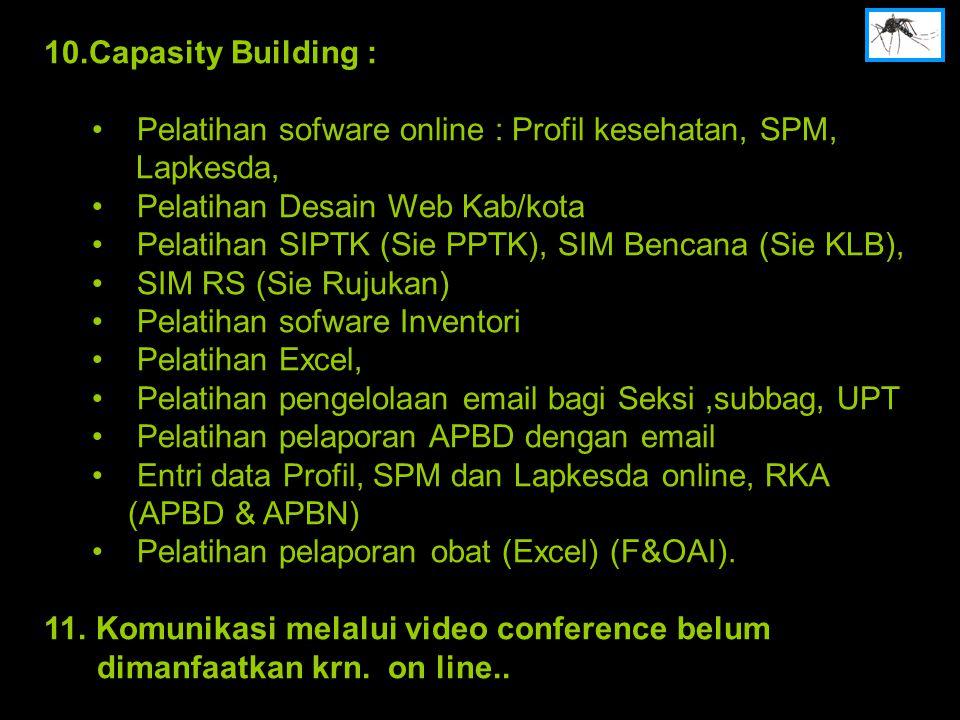 10.Capasity Building : Pelatihan sofware online : Profil kesehatan, SPM, Lapkesda, Pelatihan Desain Web Kab/kota.