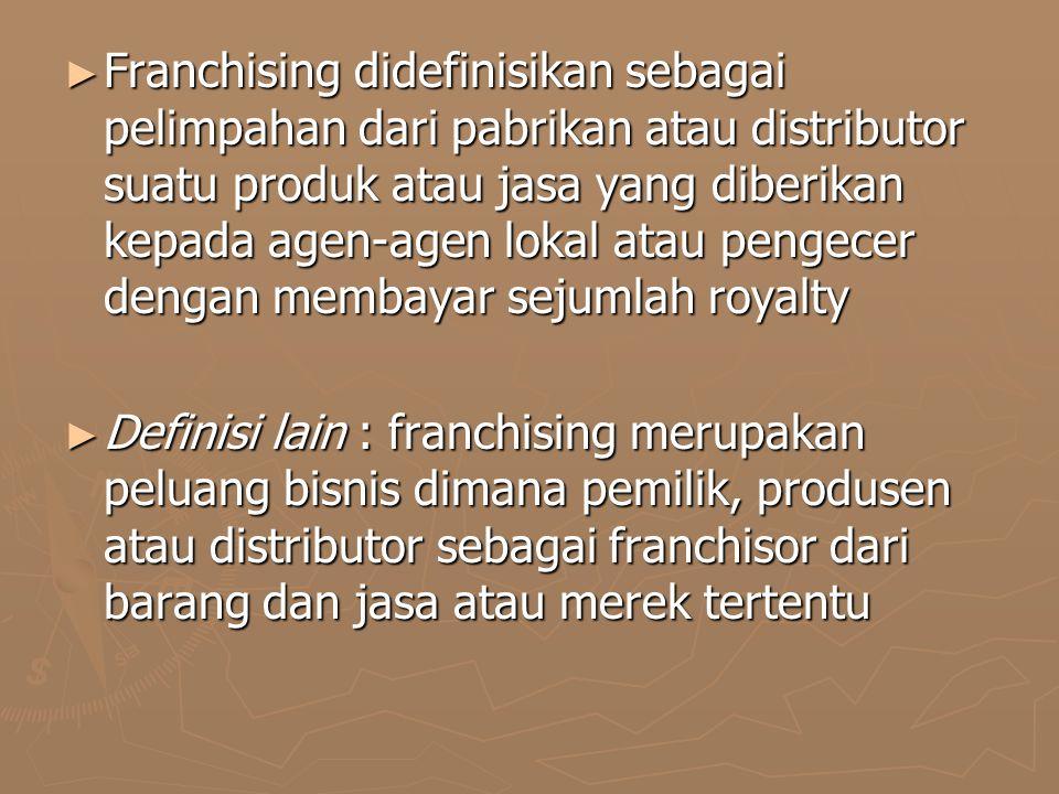 Franchising didefinisikan sebagai pelimpahan dari pabrikan atau distributor suatu produk atau jasa yang diberikan kepada agen-agen lokal atau pengecer dengan membayar sejumlah royalty