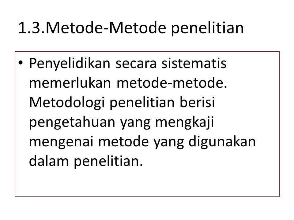 1.3.Metode-Metode penelitian