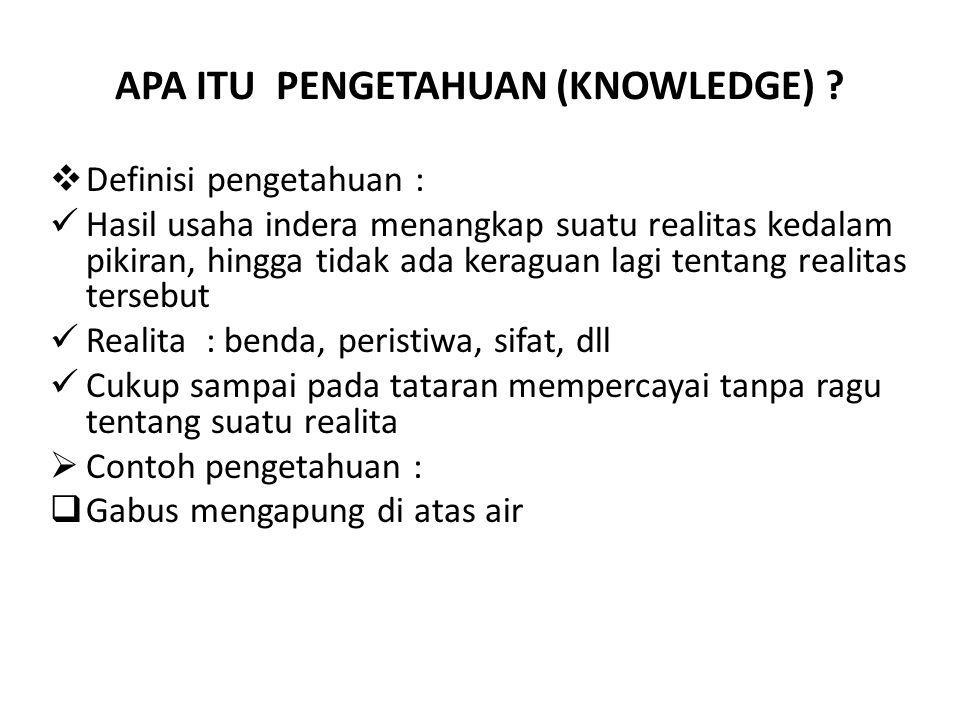 APA ITU PENGETAHUAN (KNOWLEDGE)